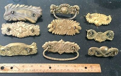 antique vintage stamped brass victorian drawer pull backplate lot of 9