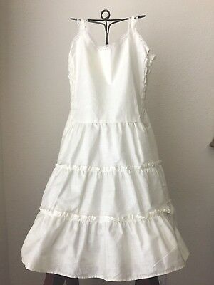 Vintage Child's Slip 1940-50's Old Store Stock White Polished Cotton Size 10