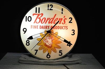 Nice VINTAGE PAM Lighted Advertising Clock BORDEN'S FINE DAIRY PRODUCTS ELSIE