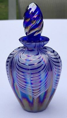 Art Glass Pulled Feather Cobalt Blue Carnival Perfume Bottle Tiffany Finish