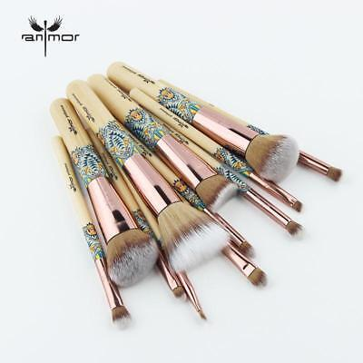 12PCS Set Bamboo Make Up Brush Soft Synthetic Collection Kit with Powder Contour