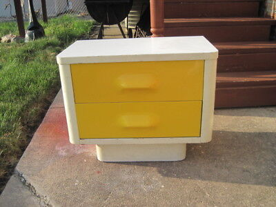 Mid Century Broyhill Premier Chapter One Art Deco Night Stand ~YELLOW/WHITE~
