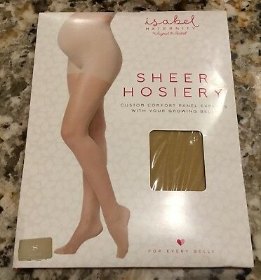 Isabel Maternity Sz Small Sheer Hose Pantyhose Nude-Expanding Comfort Panel NEW