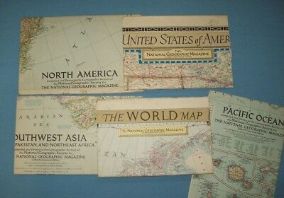 5 1950's National Geographic Maps: World, USA, SW Asia, NA, Pacific (1253)