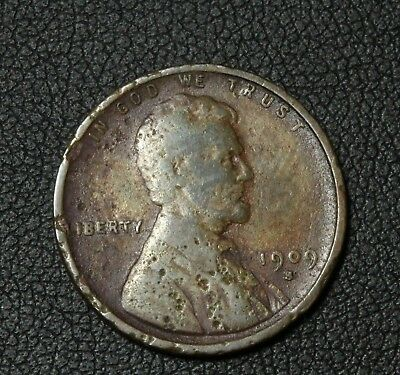 1909 S Lincoln Wheat Cent Penny - Environmental Damage