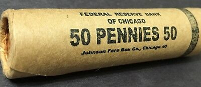 P Mint Gem -Bu- Obw Sealed Bank Roll 50 Uncirculated Lincoln Wheat Cent Pennies