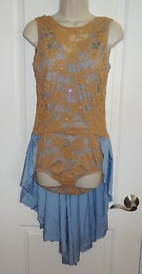Kelle Dance Costume Light Blue & Nude Hour Glass Stretch Lace Skirt Large L CS