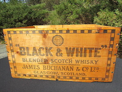 """Vintage 1955 Wooden """"Black and White"""" Scotch """"Whisky"""" Crate with Checkerboard"""