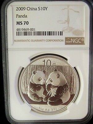 2009 China Panda 10 Yuan NGC MS70 1 Ounce Silver Coin