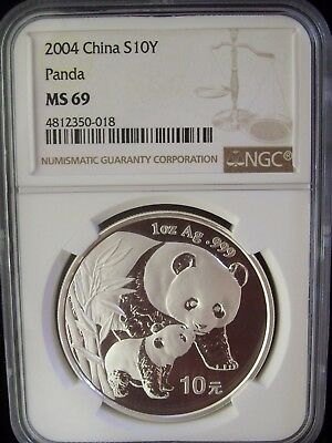 2004 China Panda 10 Yuan NGC MS69 1 Ounce Silver Coin