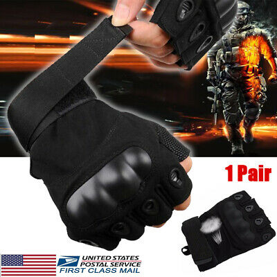 Adjustable Men's Tactical Gloves Army Knuckles Black Hard Knuckle Sewn in Brass