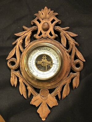 Antique French Aneroid barometer Hand Carved Wood