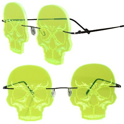 Skull Gothic Steampunk Party Festival Costume Cosplay Neon Green Sun Glasses