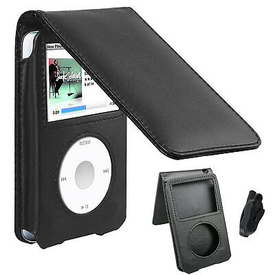 Black Leather Case for iPod Classic 80GB/120GB/160GB 6th 7th Generation