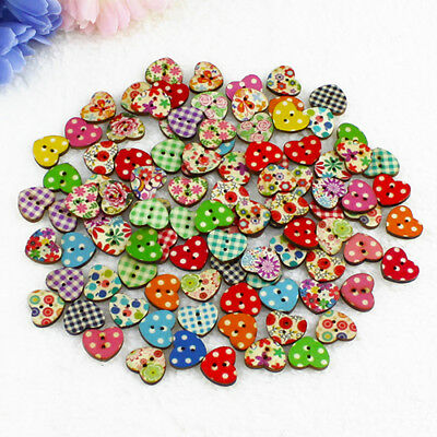 100Pcs Multicolor Heart Shaped 2 Holes Wood Sewing Scrapbooking Buttons Hot Sale