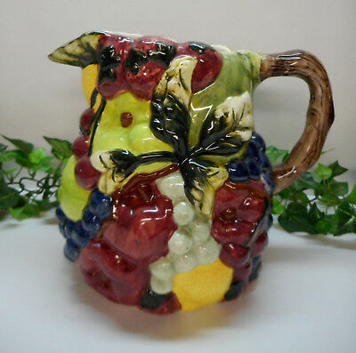 "Block Country Orchard by Gear Fruits 1985 Hand Painted Pitcher NICE! 8"" Tall"