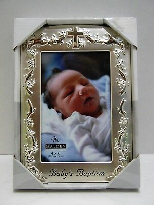 Malden Baby's Baptism Photo Frame Holds 4x6 Photograph Picture Silvertone Gift