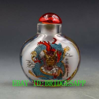Antique Chinese Glass Internal Hand-painted Dragon Snuff Bottles B47