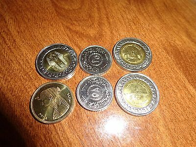LOT of 6 UNCIRCULATED EGYPTIAN COINS King TUT ,CLEOPATRA,Swez Canal & 25 P.