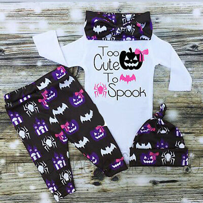 Canis Toddler Baby Boy Girls Romper Pants Hat Headband Outfits Halloween Clothes