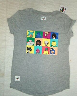 Nwt Girls Toca Boca T-Shirt Gray W/ Graphic Characters Short Sleeve Xs S M L New