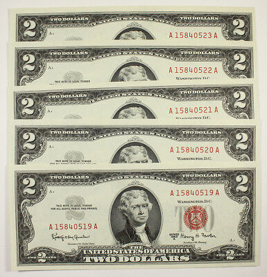 1963A $2 Red Seal Notes (5) Consecutive Two Dollars Bills - UNC Crisp Bills