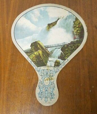 Vintage Daughters of America Auxiliary Hand Fan Waterfall Scene