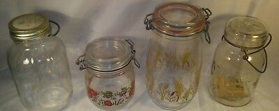 4 Antique ATLAS Canister Glass Jar Set Antique ATLAS Mason Jar LOT Old Mason Jar