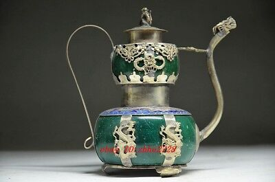 Delicate Silver Dragon Inlaid Jade Handmade Carved Monkey Flagon Teapot