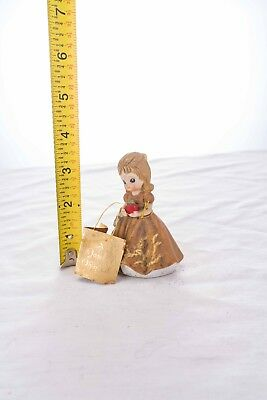"""Josef Originals girl in brown dress with apple, 4"""" tall."""