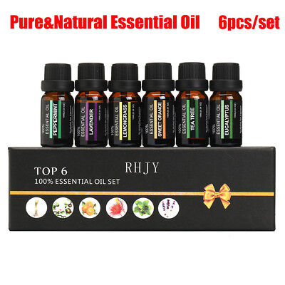 ESSENTIAL OILS SET Of 6 100% Pure Aromatherapy kit 10mL Bottles Gift Box  TY