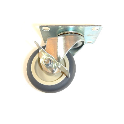 "Swivel Plate Caster with 3"" Gray Soft Rubber Wheel with SLB / 100# Cap."