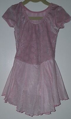 Motion Wear girls Sz 6x-7 Pink With Silver Circles Skirted Leotard