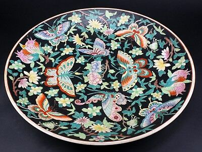 Large Vintage Chinese Famille Rose Butterfly Porcelain Pottery Plate