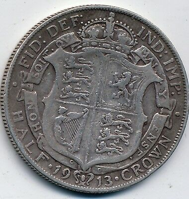 1913 Circulated, Great Britain, Silver 1/2 Crown, Km #818.1