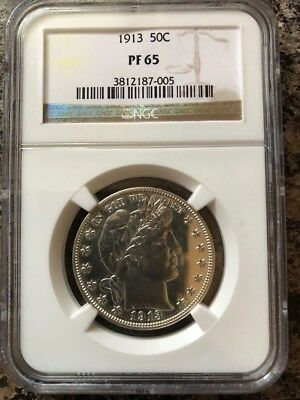 NGC 1913 Barber Half Dollar Proof PF 65 $3,650 Price Guide value