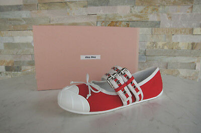 d807d9e13b624 Miu Miu 38 Ballerines Chaussons Chaussures Basses Rouge 5F022B Neuf  Autrefois