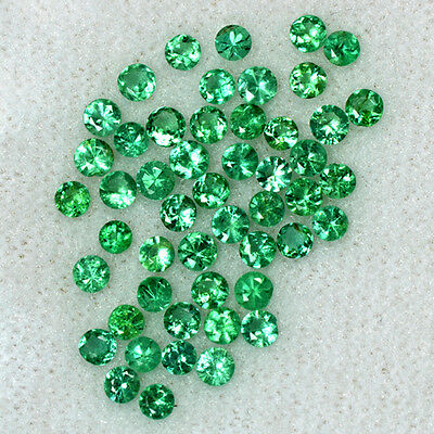 2.54 Cts Natural Emerald Loose Gemstone Top Round Diamond Cut 2.5 mm Lot Zambia