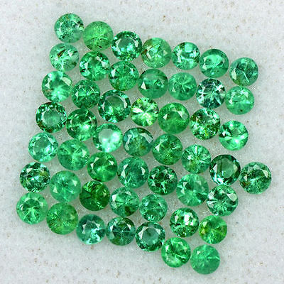 2.96 Cts Natural 2.5 mm Emerald 50 Pcs Gemstone Top Round Diamond Cut Lot Zambia