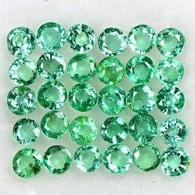 2.35 Cts Natural Top Green Emerald Round Cut Lot Zambia Size 2 upto 2.5 mm Loose