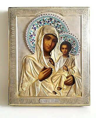 Beautiful Antique Russian Icon Mother of God Gilt Silver Enamel Oklad