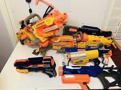 Nerf Gun Lot Accessories- Vulcan EBF-25 Raider Cs-35 -Long Shot CS-6 Lot Of 8