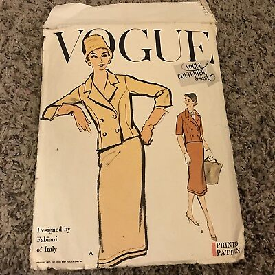 Vtg 1957 Vogue Couturier Design No. 998 by FABIANI of Italy 14 Suit Incomplete