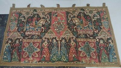 """Antique 19c Aubusson French print Tapestry Beautiful   size 29'×46""""""""(cm74×117)"""