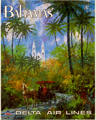 ORIGINAL Vintage Travel Poster DELTA AIRLINE Bahamas LAYCOX Horse Carriage PALMS