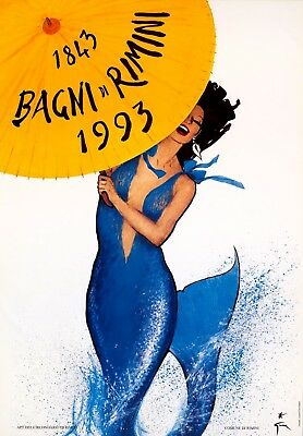 ORIGINAL Vintage Travel Poster RIMINI BEACH 1843-1993 Italy MERMAID Rene GRUAU