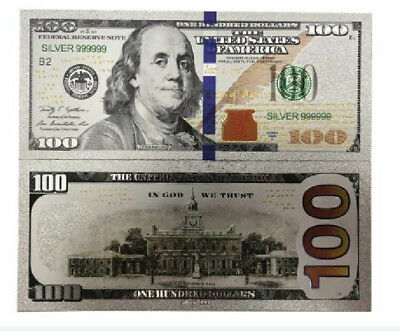 Silver Foil Latest US Note $100 One Hundred Dollars Banknote Collector Bill