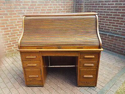 Antique Oak Roll Top /Tambour Front Desk