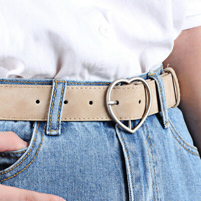 FROSTED LEATHER BELT Brand Belts Love Heart Shape Pin Buckle