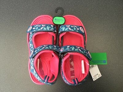 Girls Mountain Warehouse Sand sandals with velcro in teal/pink 13 UK/ 32 Euro